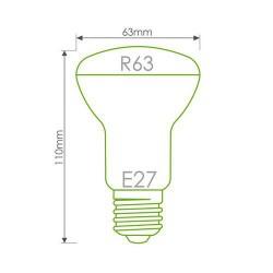 WHITENERGY LED žárovka, 80xSMD3528, R63, E27, 4W, 230V, teplá bílá transparentní