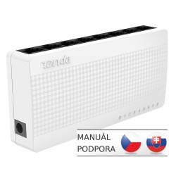 Tenda S108 8 x 10/100 Mb/s Mini Eco Switch, Desktop, Auto MDI/MDIX, spotřeba do 2,1 Watt