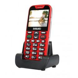 EVOLVEO EasyPhone XD, mobilní telefon pro seniory s nabíjecím stojánkem (červená barva)