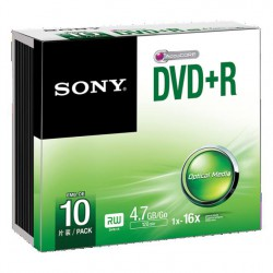 Média DVD+R SONY 4.7GB 10ks SLIM (120 min.)