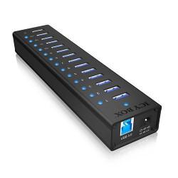 RAIDSONIC ICY BOX IB-AC6113 externí hliníkový USB HUB (13x USB 3.0 + 1x nabíjecí 2.1A), černý