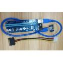 ANPIX ver009s (verze MOLEX modrá) redukce PCIe x1 na PCIe x16 (pro těžbu kryptoměny) (3xCAP, 1xLED, napájení přes MOLEX 4pin kon