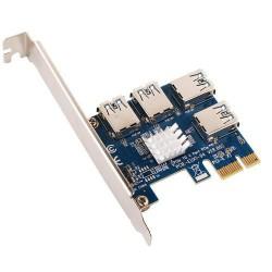 ANPIX adaptér z PCI-E 1x na 4 porty pro RISER karty s konektorem USB (pro těžbu kryptoměny, nefunguje jako USB)
