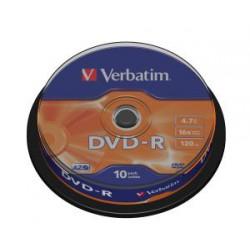 VERBATIM DVD-R(10-Pack)Spindl/MattSlvr/16x/4.7GB