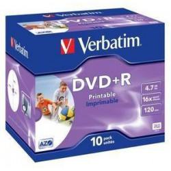 VERBATIM DVD+R (10-pack)Printable/16x/4.7GB/Jewel