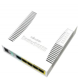 MIKROTIK RouterBOARD RB260GSP, 5-port Gigabit smart switch with SFP cage, SwOS, plastic case, PSU, POE OUT