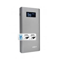 iGET POWER B-10000FC (10 000 mAh) kov, Li-Pol powerbank, QuickCharge Q3.0, LCD, microUSB + USB-C
