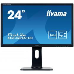 "24"" iiyama B2482HS-B1 - TN,FullHD,1ms,250cd/m2, 1000:1,16:9,VGA,HDMI,DVI,repro,pivot,výškov.nastav."