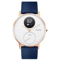 Nokia Steel HR (36mm) Rose Gold w/ Blue Leather + Grey Silicone wristband