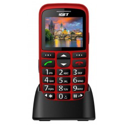 iGET SIMPLE D7 Red, seniorský, Bluetooth, FM rádio, kamera, svítilna, výdrž 15 dní,microSD, stojánek