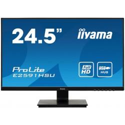 """25"""" iiyama E2591HSU-B1: TN, FullHD@75Hz, 250cd/m2, 1ms, VGA, HDMI, DP, USB, FreeSync, černý"""