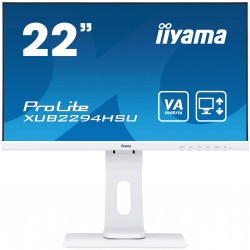 "22"" iiyama XUB2294HSU-W1: VA, FullHD@75Hz, 250cd/m2, 4ms, VGA, HDMI, DP, USB, height, pivot, bílý"