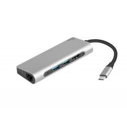 Dokovací stanice - multifunkční adaptér Natec Fowler, USB-C, 2x USB 3.0, HDMI 4K, RJ45, Type-C, SD