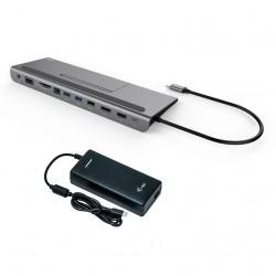 i-tec USB-C Metal Low Profile 4K Triple LCD Docking Station + i-tec Universal Charger 112W