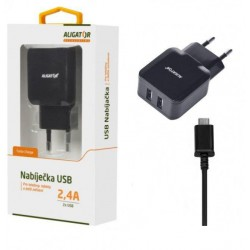ALIGATOR micro USB s 2xUSB výstupem 2,4A,černá
