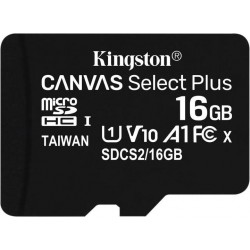 16GB microSDHC Kingston Canvas Select Plus  A1 CL10 100MB/s + adapter