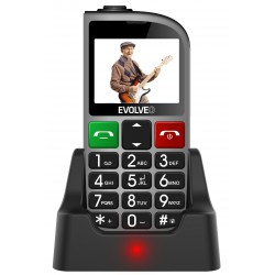 EVOLVEO EasyPhone FM, mobilní telefon pro seniory s nabíjecím stojánkem (stříbrná barva)