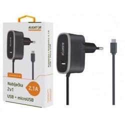 ALIGATOR nabíječka MicroUSB s USB výst 5V/2,1A, černá