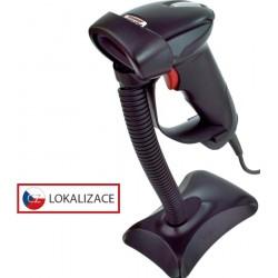 Laserová čtečka Virtuos HT-900A, USB (klávesnice/RS-232 emulace), stojánek, černá