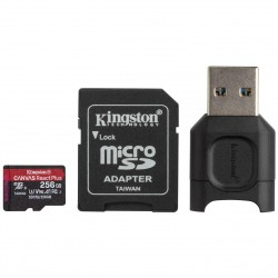 256GB microSDXC Kingston Canvas React Plus UHS-II V90 + adapter + čtečka