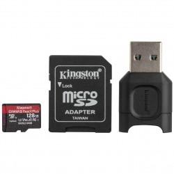 128GB microSDXC Kingston Canvas React Plus UHS-II V90 + adapter + čtečka