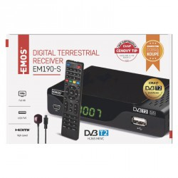 DVB-T2 PŘIJÍMAČ EM 190-S HD (HEVC H265)