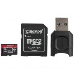 64GB microSDXC Kingston Canvas React Plus UHS-II V90 + adapter + čtečka