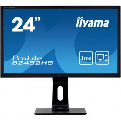 "24"" iiyama B2482HS-B5: TN, FullHD@75Hz, 250cd/m2, 1ms, VGA, HDMI, DVI, height, pivot, černý"