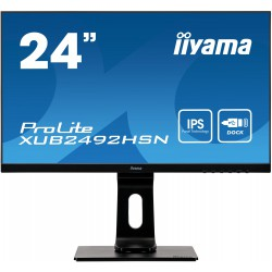 "24"" iiyama XUB2492HSN-B1: IPS, FullHD@75Hz, 250cd/m2, 4ms, HDMI, DP, USB-C, height, pivot, černý"