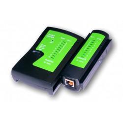 UTP kabel tester RJ11,RJ45-indikace LED diody,čern