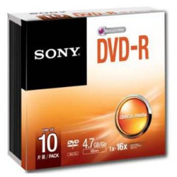 Média DVD-R SONY DMR-47  4.7GB  16x  10ks SLIM