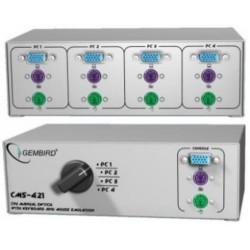 Dat.přepínač GEMBIRD manuální 4PC (1xVGA, 1x klávesnice, 1x myš ,PS/2), KVM