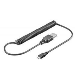 KABEL USB micro kroucený 0.5 - 1.0m 2.0, USB A(M) - microUSB B(M)
