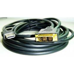 Kabel HDMI-DVI 5.0m, M/M stíněný, zlacené kontakty GEMBIRD