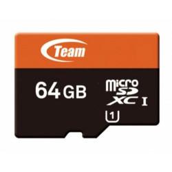 TEAM micro SD card SDXC 64GB Class10 UHS-I U1 XC1 (až 40MB/s / 10MB/s, + 1x adaptér na velikost SD, kompatibilní pro SDXC zaříze