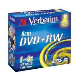 VERBATIM 43565 DVD+RW 5jewel 4x 8cm media (doporuceno pro camcordery) (krabice 4x5pack)