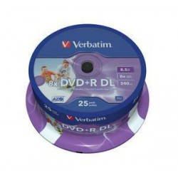 verbatim 43667 dvd r 25cake 8x double layer 8 5gb printable media krabice 8x25pack