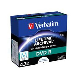 VERBATIM DVD R 4,7 GB (120min) M-Disc 4x Printable jewel box, 5ks/pack