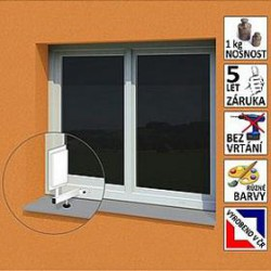 """Anténní držák malý na plastové okno """"L"""", délka 17,5 cm, výška 25 cm, d 20mm"""
