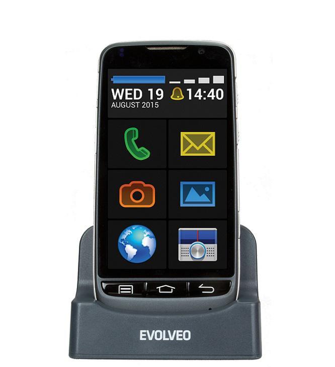 EVOLVEO EVOLVEO EasyPhone D2, Android smartphone se snadným ovládáním a nabíjecím stojánkem EP-D2